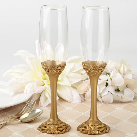 Gold Lattice Botanical Toasting Flutes