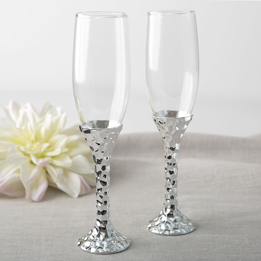 Hammered Design Silver Stem Toasting Flutes