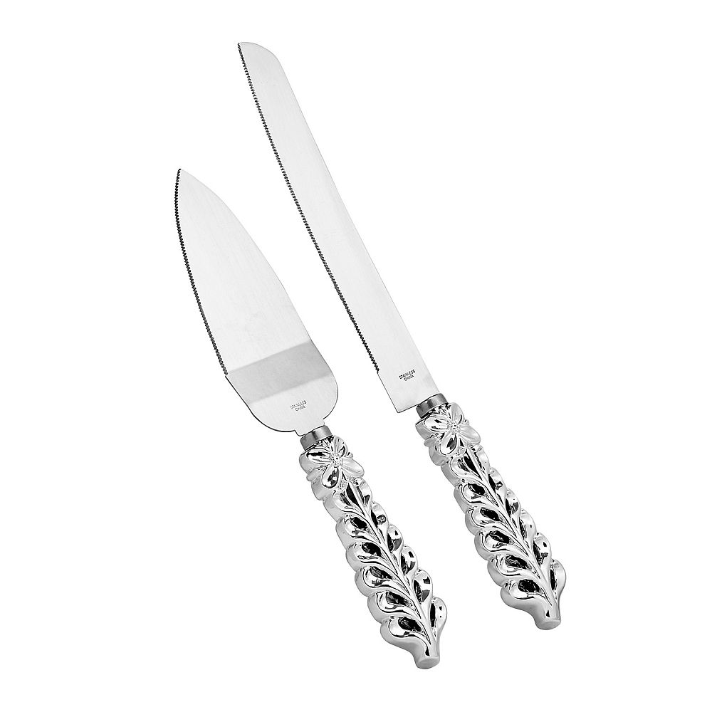 Shiny Silver Botanical Collection Cake Serving Set