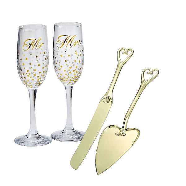 Golden Splendor Mr. & Mrs. Stemless Toasting Glasses & Cake Serving Set