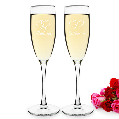 Double Hearts Wedding Toasting Flutes