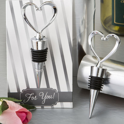 All Metal Open Heart Bottle Stopper Favor
