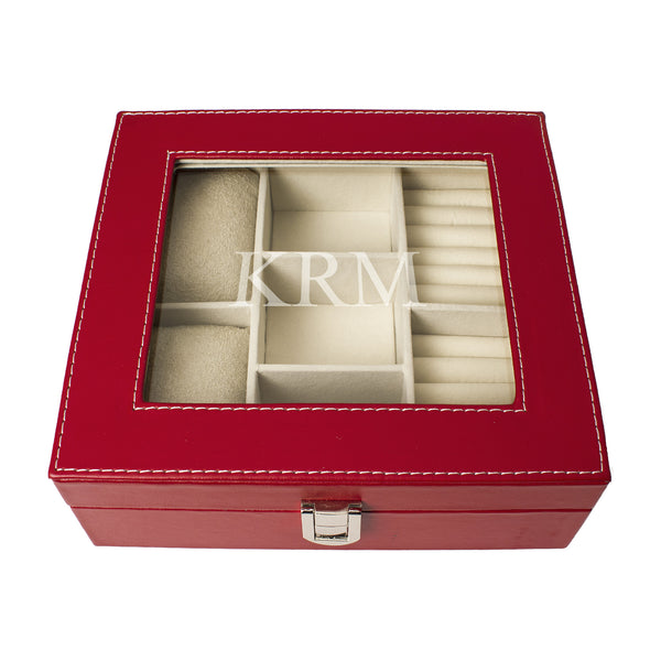 Red Leatherette Jewelry Box