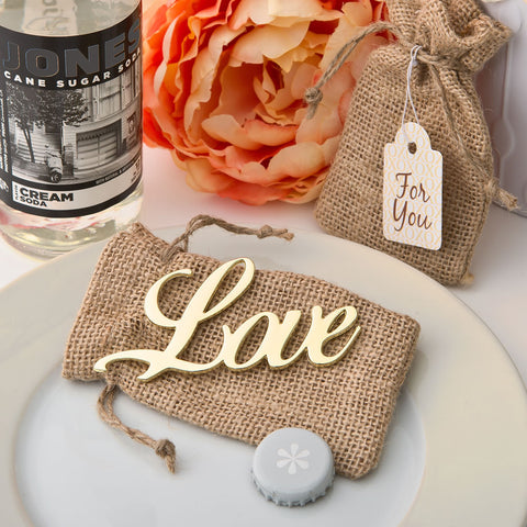 """Love"" bottle opener wedding favor"