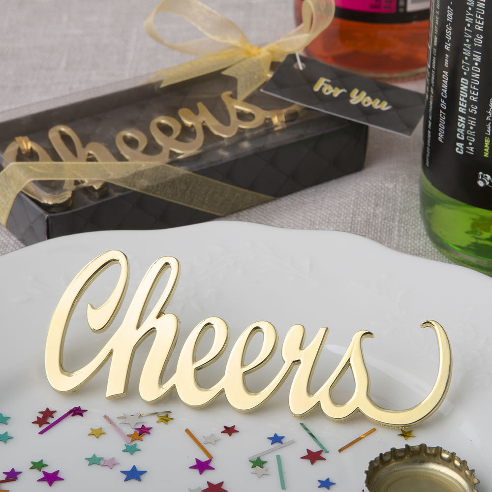 Cheers Gold Metal Bottle Opener Favor