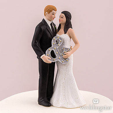 Mr. & Mrs. Porcelain Figurine Wedding Cake Topper With Ampersand