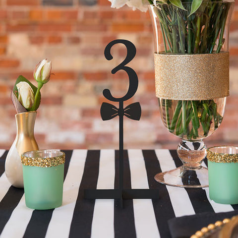 Bow Tie Acrylic Table Number - Black or White