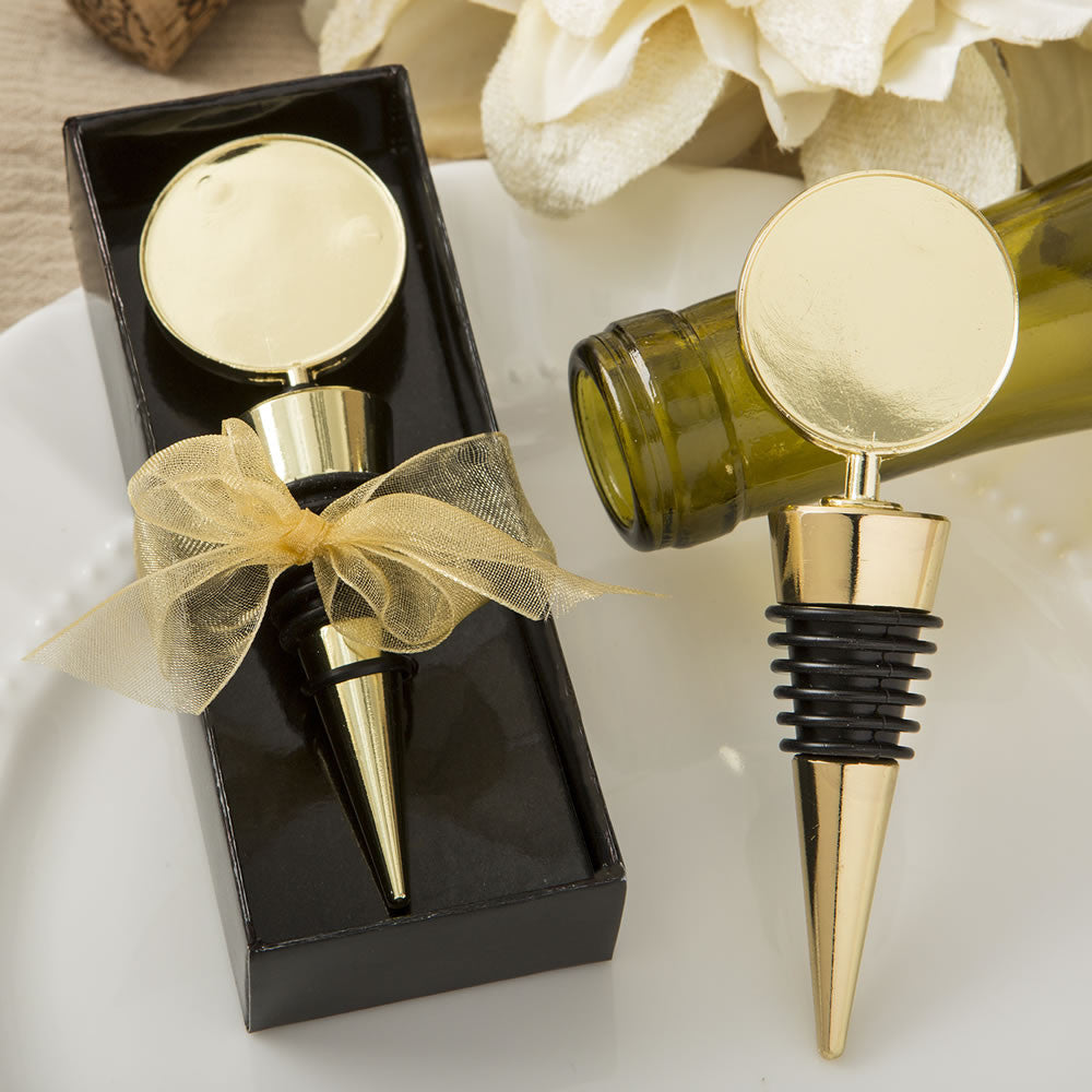Gold Metal Round Top Bottle Stopper Favor