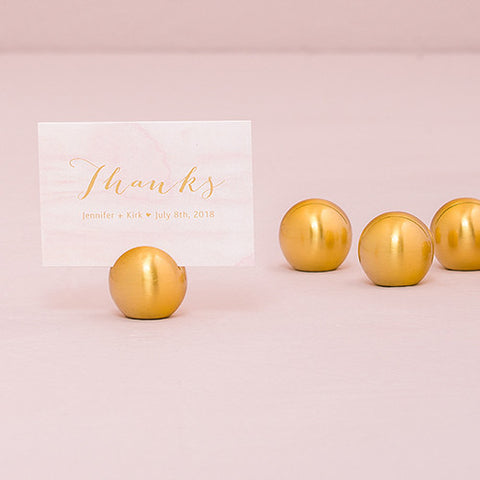 Classic Round Brushed Gold Place Card Holder