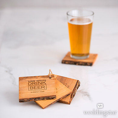 Personalized Rustic Wood Coaster Set