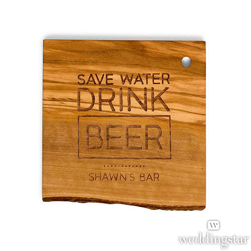 Rustic Drink Beer Wood Coaster Set
