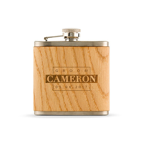 Oak Wrapped Hip Flask