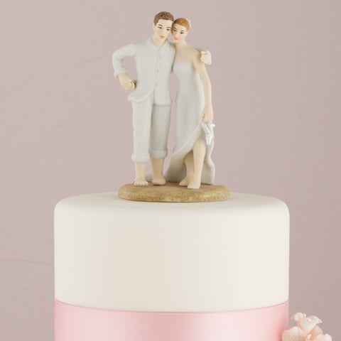 Bride And Groom Beach Theme Wedding Cake Topper
