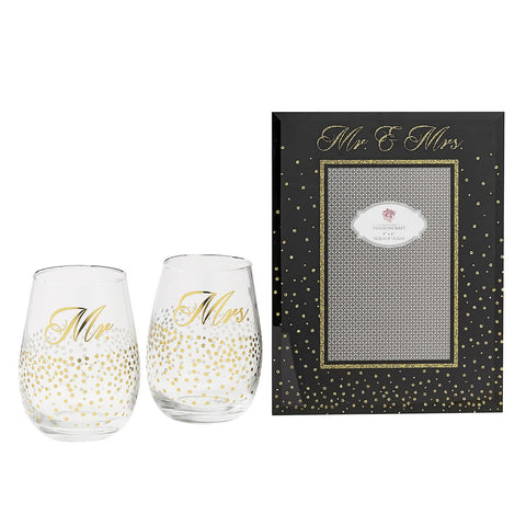 Golden Splendor Mr. & Mrs. Stemless Toasting Glasses with Glass Picture Frame