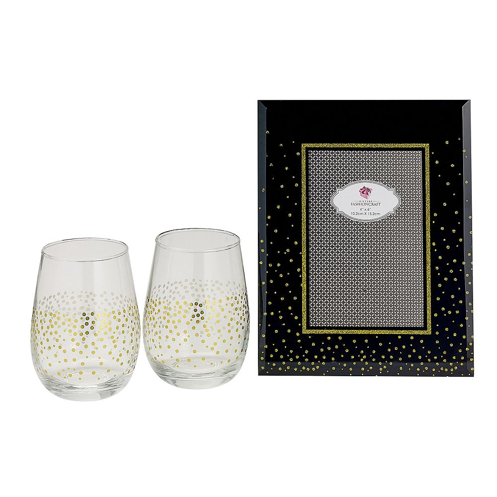 Golden Splendor Stemless Wine/Champagne Toasting Set with Deluxe Glass Picture Frame