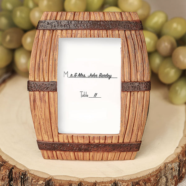 Wine Barrel Theme Place Card Holder