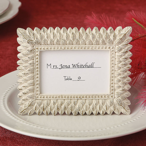 Ivory Leaf Design Place Card/Photo Frame