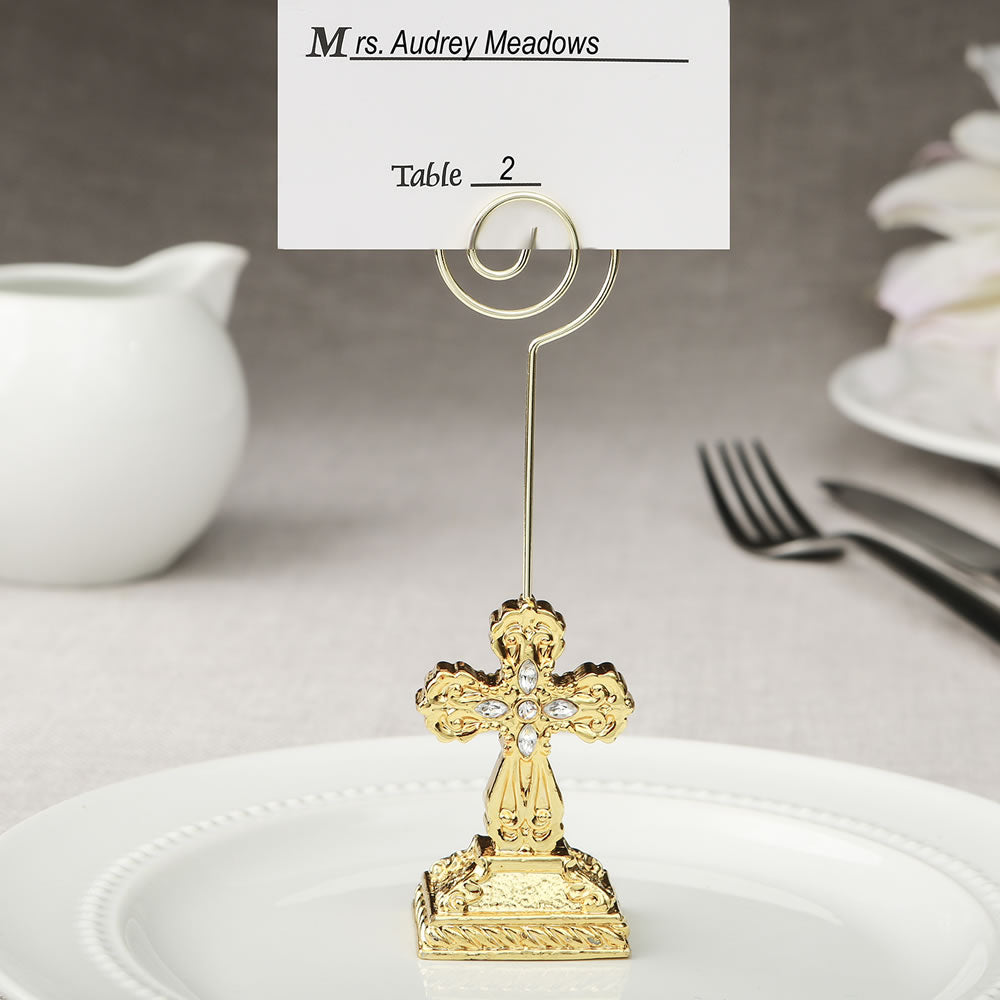 Gold Cross Themed Placecard/Photo Holder