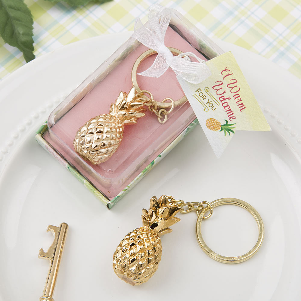 pineapple theme key chain wedding favor