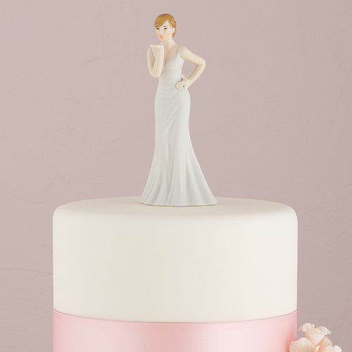 Mix & Match Bride Blowing Kisses Wedding Cake Top