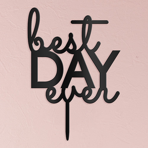 """Best Day Ever"" Wedding Cake Top (3 colors)"