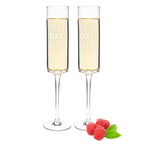 Best Day Ever Modern Toasting Flutes - Set of 2