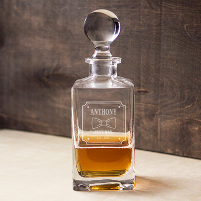 Groomsman Bow Tie 32 oz. Square Whiskey Decanter
