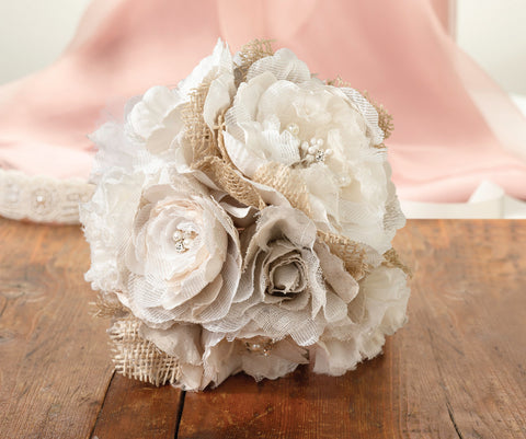 Burlap & Lace Flower Bouquet
