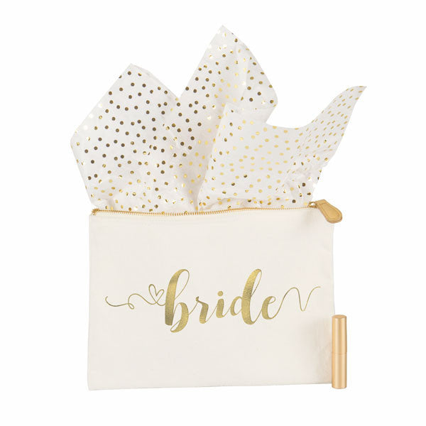 Gold Foil Bride Canvas Clutch