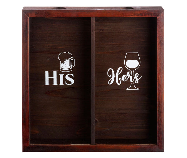 His and Hers Bottle Cap and Cork Shadow Box