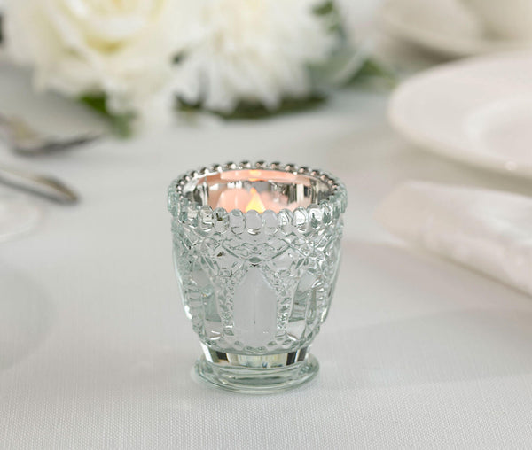 Metallic Silver Cut Glass Votive or Tea light Candle Holders Set of 6