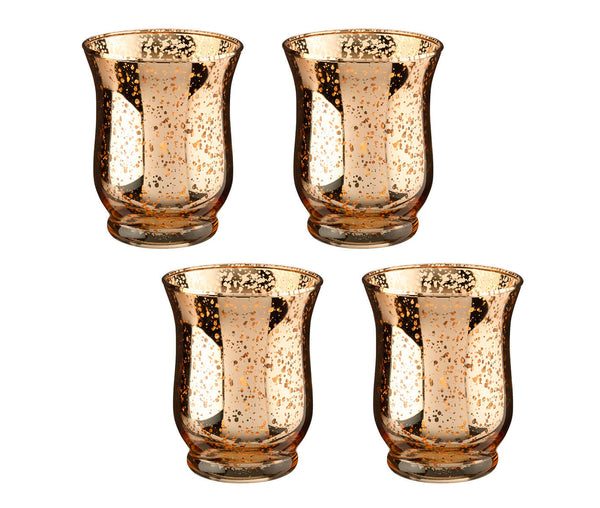 Mercury Tulip Shaped Glass Votive or Tea Light Holders in Set of 4