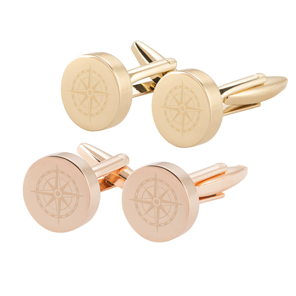 Compass Round Cuff Links
