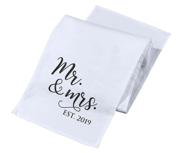 "White and Black ""Mr. & Mrs. Est. 2019"" Table Runner"