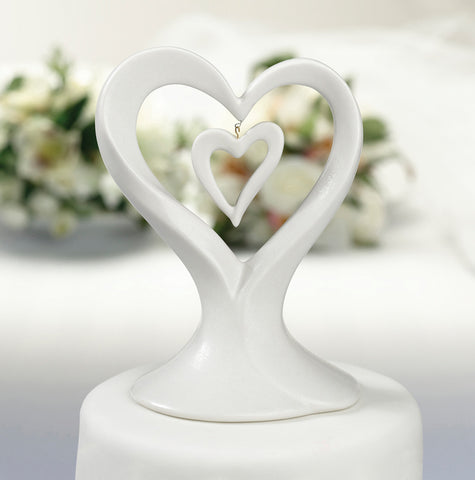 double heart wedding cake top