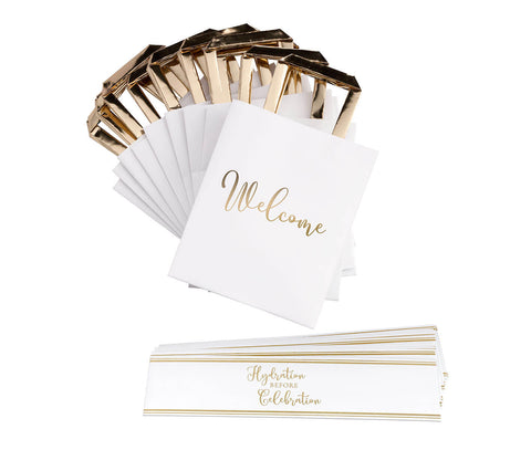 Gold and White Wedding Welcome Bags with Bottle Wraps Set