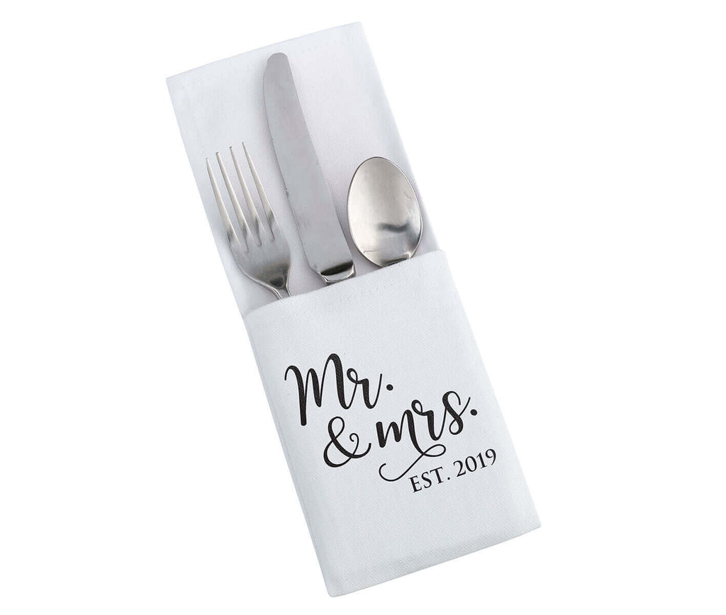 Mr. & Mrs. Est. 2019 White and Black Silverware Holder