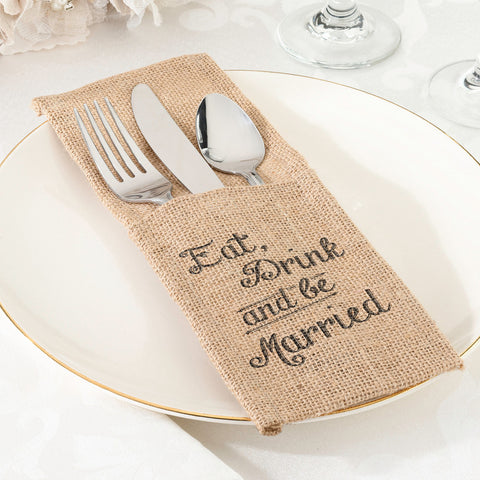 Be Married Burlap Silverware Holders - Set of 4