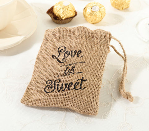Love Is Sweet Burlap Favor Bags - Set of 4
