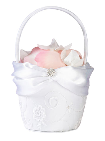 White Lace Flower Girl Basket