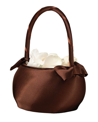 Chocolate Brown Satin Flower Girl Basket