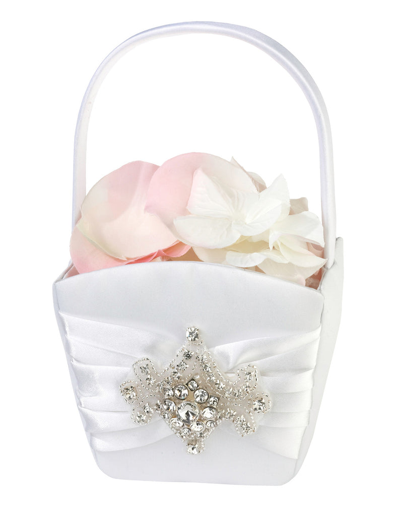 Jewled Motif Flower Girl Basket | WhereBridesGo.com