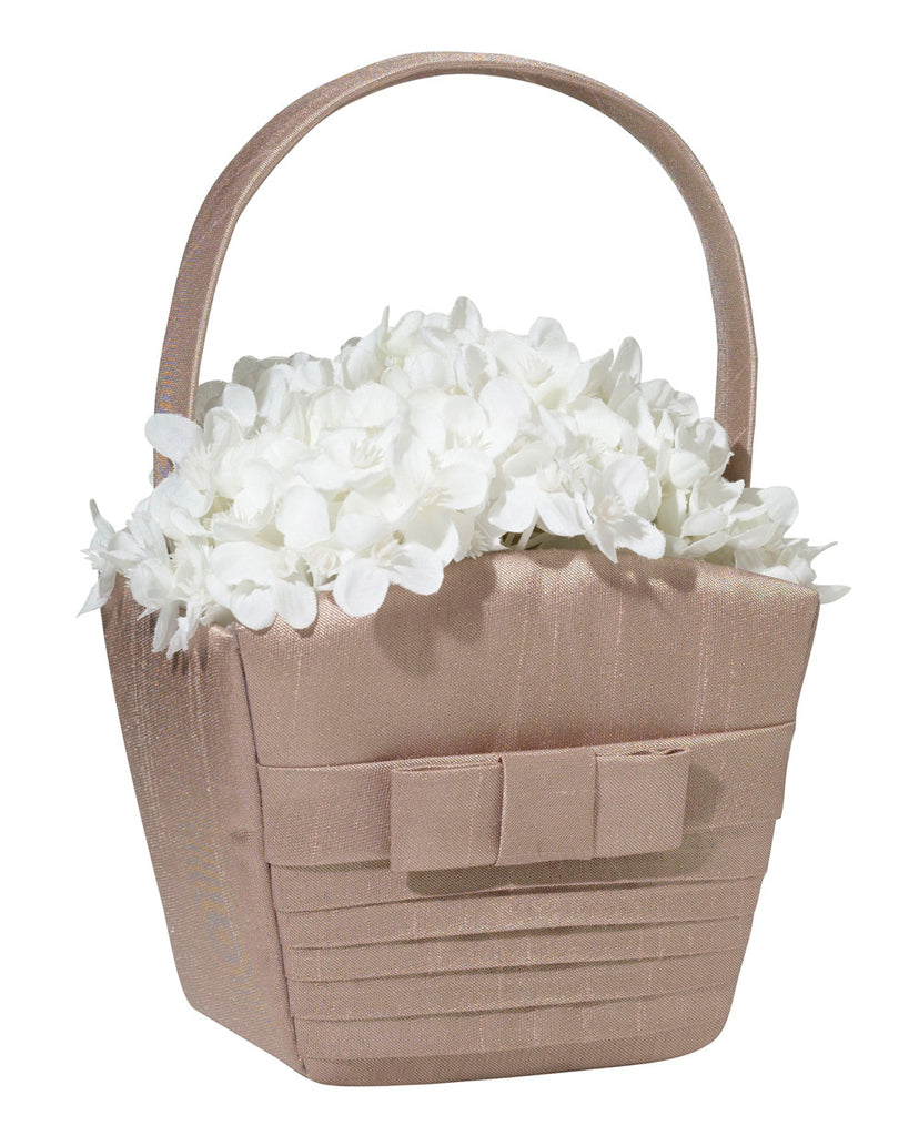 Taupe Pleated Silk Flower Girl Basket