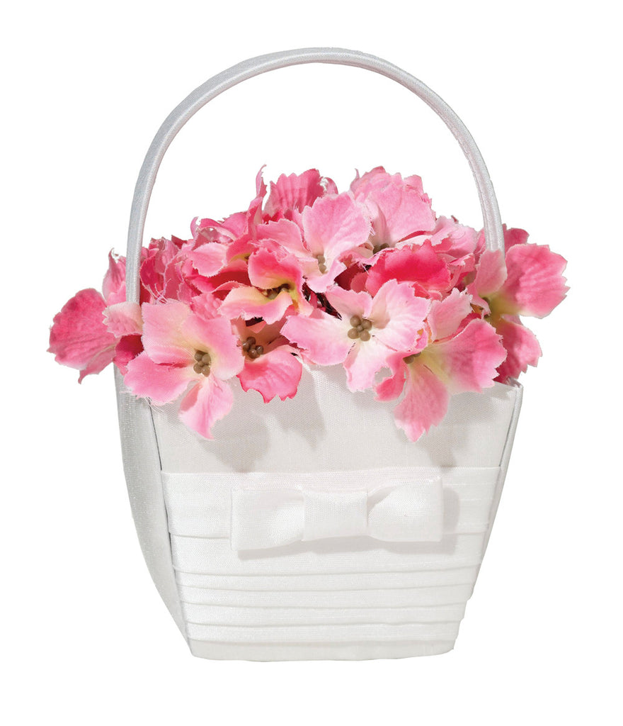 White Pleated Silk Flower Girl Basket