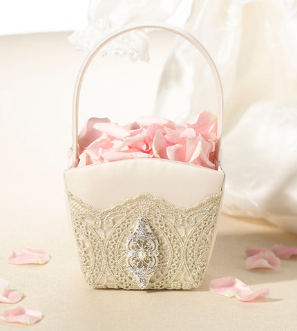 20441246fc Gold Lace Flower Girl Basket