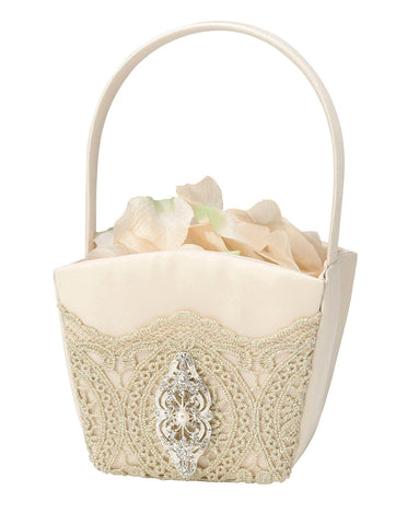 Gold Lace Flower Girl Basket