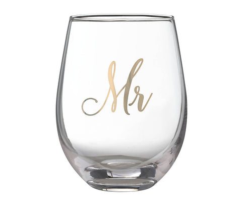 Stemless Wine Glass - Mr. & Mrs.