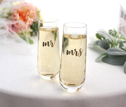 Stemless Champagne Glass - Mr. or Mrs.