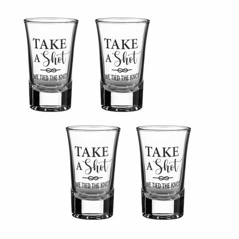 Tied the Knot Wedding Day Shot Glass Favors - Set of 4