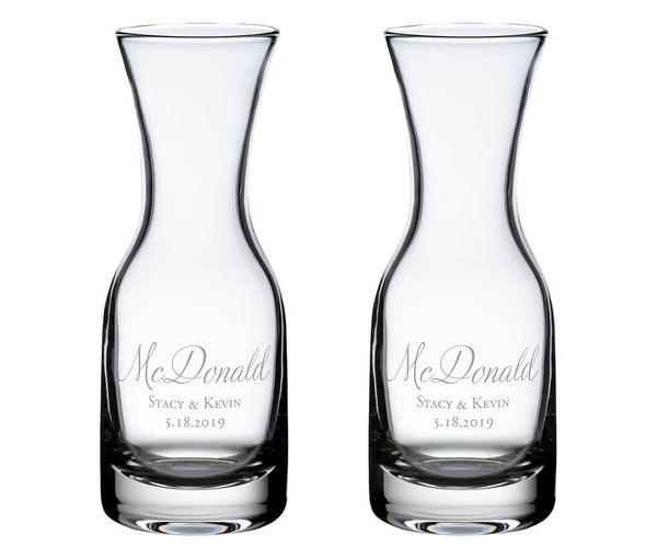 Wine Carafes with Script Personalization